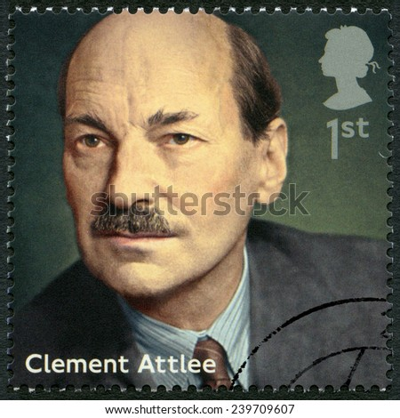 UNITED KINGDOM - CIRCA 2014: A stamp printed in United Kingdom shows Clement Attlee (1883-1967), politician, series Prime Ministers, circa 2014 - stock photo