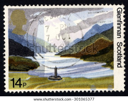 UNITED KINGDOM - CIRCA 1981: A stamp printed in United Kingdom shows Glenfinnan Scotland (British Landscapes), circa 1981 - stock photo