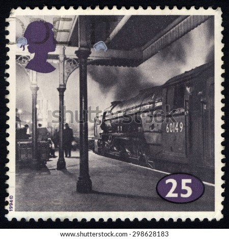 UNITED KINGDOM  - CIRCA 1994: A stamp printed in United Kingdom shows image of the Class A1 No. 60149 Amadis at Kings Cross, circa 1994. - stock photo