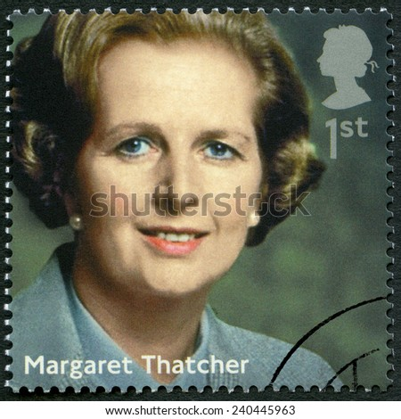 UNITED KINGDOM - CIRCA 2014: A stamp printed in United Kingdom shows Margaret Thatcher (1925-2013), politician, series Prime Ministers, circa 2014 - stock photo