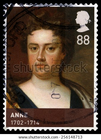 UNITED KINGDOM - CIRCA 2010: A used British postage stamp, depicting a portrait of Queen Anne, circa 2010. - stock photo