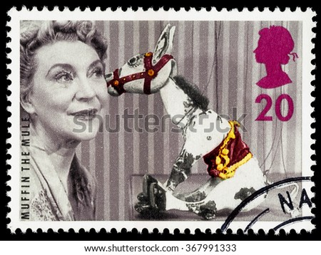 UNITED KINGDOM - CIRCA 1996: A used postage stamp printed in Britain celebrating the 50th Anniversary of Childrens Television showing Muffin the Mule - stock photo