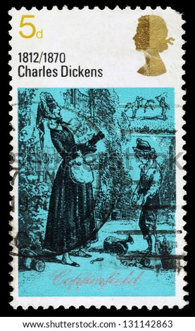 UNITED KINGDOM - CIRCA 1970: A used postage stamp printed in Britain showing David Copperfield and Betsy Trotwood from the book David Copperfield by Charles Dickens, circa 1970 - stock photo