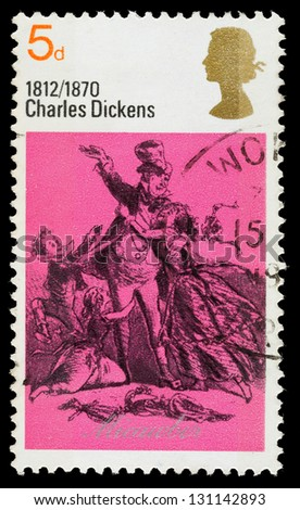 UNITED KINGDOM - CIRCA 1970: A used postage stamp printed in Britain showing Mr and Mrs Micawber from the book David Copperfield by Charles Dickens, circa 1970 - stock photo