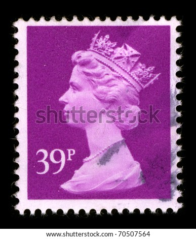 UNITED KINGDOM - CIRCA 1990: An English Used First Class Postage Stamp printed in UNITED KINGDOM showing Portrait of Queen Elizabeth in pink, circa 1990. - stock photo