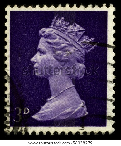 UNITED KINGDOM - CIRCA 1973: An English Used First Class Postage Stamp showing Portrait of Queen Elizabeth in deep lilac circa 1973. - stock photo