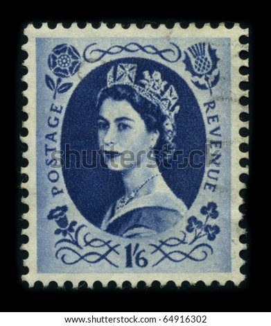 UNITED KINGDOM - CIRCA 1960: An English Used First Class Postage Stamp showing Portrait of Queen Elizabeth in blue, 1960. - stock photo