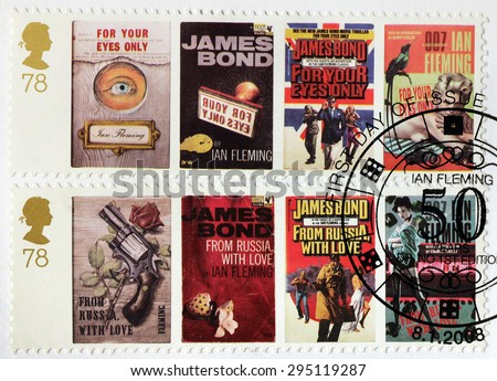 UNITED KINGDOM - CIRCA APRIL, 2008: A set of two stamps printed by GREAT BRITAIN shows images of covers of James Bond For Your Eyes Only and From Russia with Love novels by Ian Fleming. - stock photo