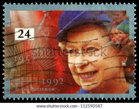UNITED KINGDOM - CIRCA 1992: British Used Postage Stamp celebrating the 40th Anniversary of Queen Elizabeth 2nd, circa 1992 - stock photo