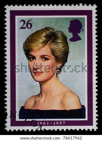 UNITED KINGDOM - CIRCA 1998: British Used Postage Stamp showing Diana, Princess of Wales, circa 1998 - stock photo