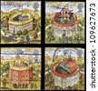 UNITED KINGDOM - CIRCA 1995: Four stamps printed in Great Britain dedicated to Reconstruction of Shakespeares Globe Theatre, circa 1995 - stock photo