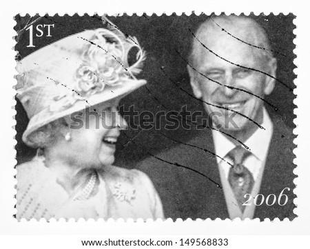 UNITED KINGDOM - CIRCA 2006: Queen Elizabeth II and the Duke of Edinburgh Prince Philip leave St Pauls Cathedral, the Diamond Wedding Anniversary (1947-2007), circa 2006 - stock photo