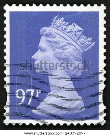 UNITED KINGDOM - CIRCA 2014: royal mail stamp printed in Great Britain shows portrait of queen Elizabeth II; purple heather blue 97p; circa 2014 - stock photo