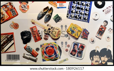 UNITED KINGDOM - CIRCA 2007: Stamps printed in Great Britain shows the Beatles memorabilia, circa 2007.  - stock photo