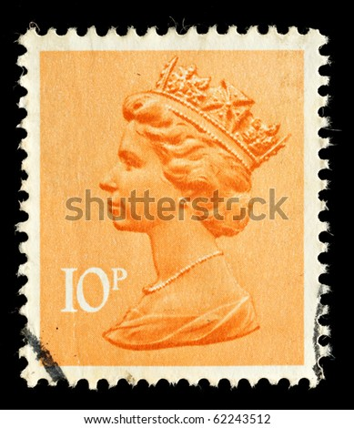 UNITED KINGDOM - CIRCA 1971 to 1996: An English Used Postage Stamp showing Portrait of Queen Elizabeth 2nd, circa 1971 - 1996 - stock photo