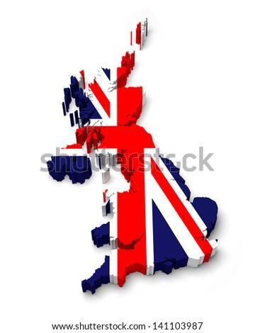 United Kingdom 3D flag map on white isolated - stock photo