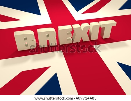 United Kingdom exit from europe relative image. Brexit named politic process. Referendum theme. Brexit text above United Kingdom flag - stock photo