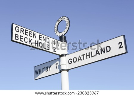 United Kingdom, Finger post, Yorks North Riding, pointing to Goathland, Beck Hole and Whitby. North Yorkshire, England, United Kingdom, North Yorkshire Moors. - stock photo