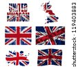 United Kingdom flag and map in different styles in different textures - stock photo