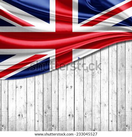 United Kingdom flag and wood background - stock photo