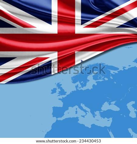 United Kingdom  flag and world map background - stock photo