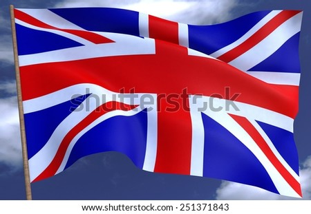 United Kingdom flag on the background of the sky 3D - stock photo