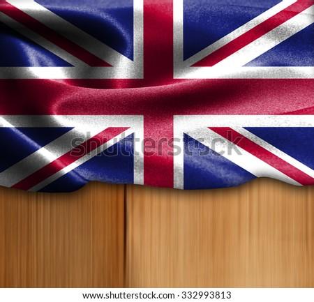 United Kingdom flag on wood Texture - stock photo