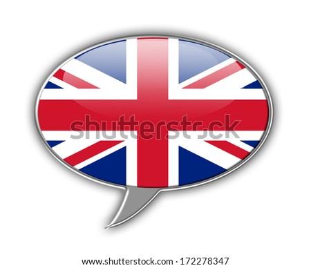 United kingdom flag (union jack) speech bubble. - stock photo