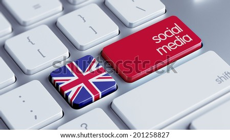 United Kingdom High Resolution Social Media Concept - stock photo