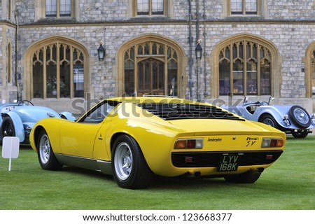 UNITED KINGDOM - SEPTEMBER 13: A classic Lamborghini on display at the United Kingdom Concours d'elegance Classic Car Expo at Windsor Castle on September 13, 2012 in Windsor, United Kingdom. - stock photo