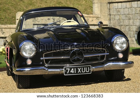 UNITED KINGDOM - SEPTEMBER 13: A classic Mercedes Gull Wing on display at the United Kingdom Concours d'elegance Classic Car Expo at Windsor Castle on September 13, 2012 in Windsor, United Kingdom. - stock photo