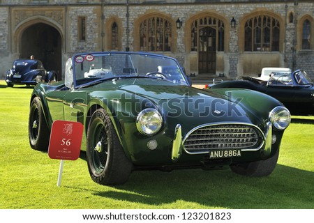 UNITED KINGDOM - SEPTEMBER 13: AC on display at the United Kingdom Concours d'elegance Classic Car Expo at Windsor Castle on September 13, 2012 in Windsor, United Kingdom. - stock photo