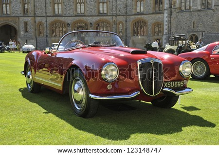 UNITED KINGDOM - SEPTEMBER 13: Lancia on display at the United Kingdom Concours d'elegance Classic Car Expo at Windsor Castle on September 13, 2012 in Windsor, United Kingdom. - stock photo
