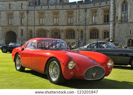 UNITED KINGDOM - SEPTEMBER 13: Maserati on display at the United Kingdom Concours d'elegance Classic Car Expo at Windsor Castle on September 13, 2012 in Windsor, United Kingdom. - stock photo