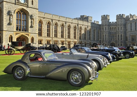 UNITED KINGDOM - SEPTEMBER 13: Selection of stunning cars on display at the United Kingdom Concours d'elegance Classic Car Expo at Windsor Castle on September 13, 2012 in Windsor, United Kingdom. - stock photo