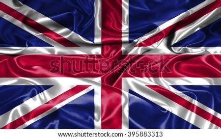 United Kingdom silk flag - stock photo
