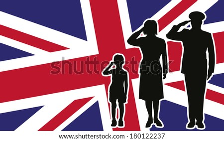 United Kingdom soldier family salute - stock photo