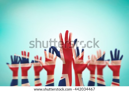 United kingdom UK great Britain flag pattern on person human people crowd group population hands on old vintage blue sky background with clipping path: Voluteer, International labour day concept idea - stock photo