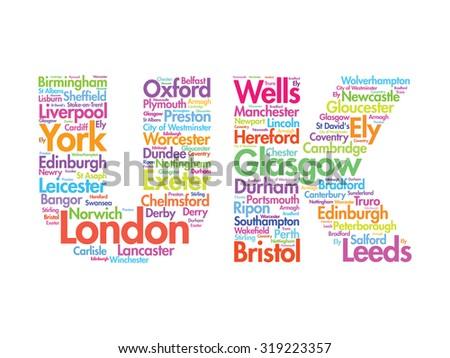 United Kingdom words cloud, cities, travel, agency logotype - stock photo