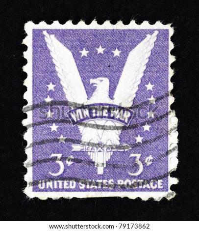 "UNITED STATE OF AMERICA - CIRCA 1942: Stamps printed in United State of America showing an eagle with the word ""Win the War"", circa 1942. The stamp is created to encourage US victory in World War II. - stock photo"
