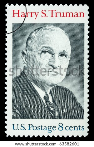 UNITED STATES AMERICA - CIRCA 1973: A postage stamp printed in the USA showing Harry S. Truman, circa 1973 - stock photo