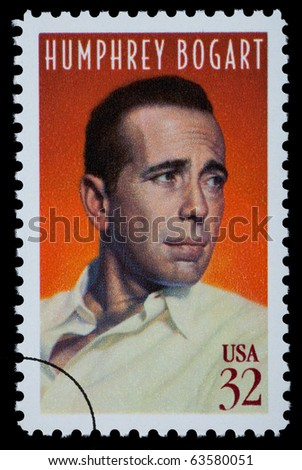 UNITED STATES AMERICA - CIRCA 2000: A postage stamp printed in the USA showing Humphrey Bogart, circa 2000 - stock photo