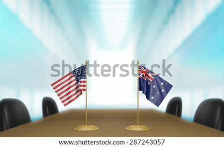 United States and Australia relations and trade deal talks 3D rendering - stock photo