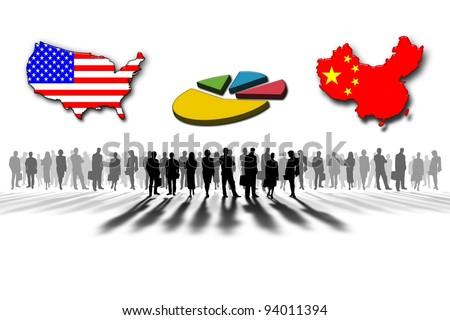United States and China statistics - stock photo