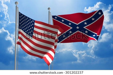 United States and Confederate States flags flying together - stock photo