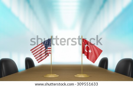 United States and Turkey relations and trade deal talks 3D rendering - stock photo