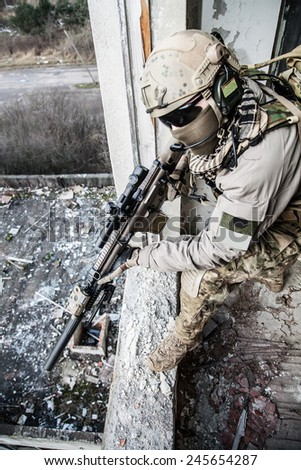 United States Army ranger during the military operation - stock photo