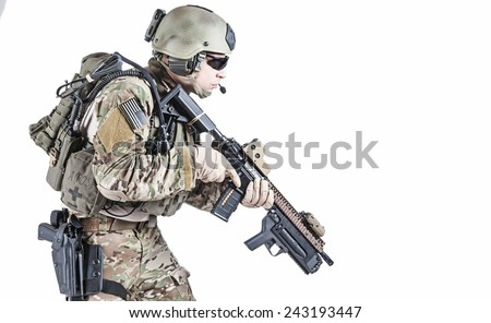 United States Army ranger with assault rifle and grenade launcher - stock photo
