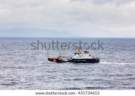 United States buoy tender Anthony Petit in the Alaskan Inner Passage - stock photo