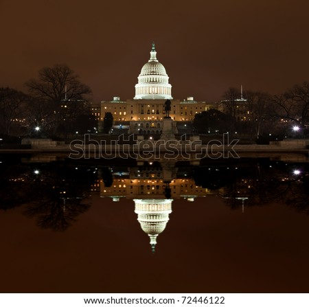 United States Capitol Building at night in Washington DC - stock photo